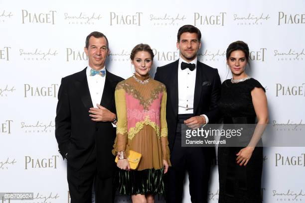 Philippe LeopoldMetzger Olivia Palermo Johannes Huebl and Chabi Nouri attend Piaget Sunlight Journey Collection Launch on June 13 2017 in Rome Italy
