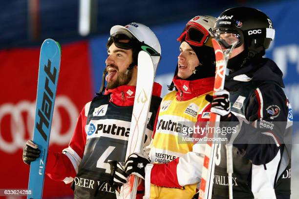 Philippe Marquis of Canada Mikael Kingsbury of Canada and Benjamin Cavet of France pose after the Men's Moguls during the FIS Freestyle World Cup at...