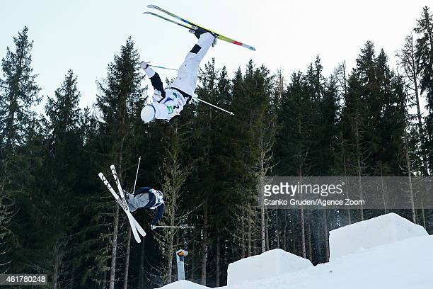 Philippe Marquis of Canada takes 2nd place during the FIS Freestyle Ski World Championships Men's and Women's Dual Moguls on January 19 2015 in...