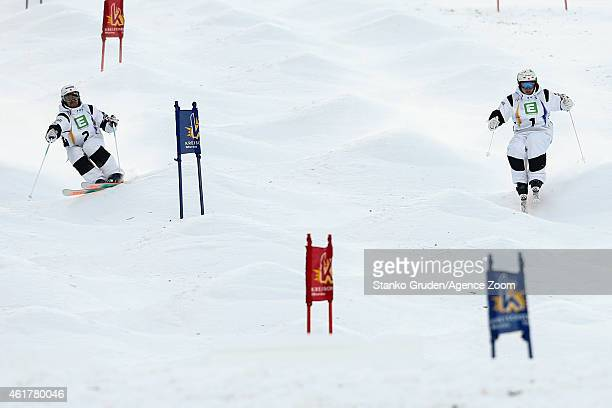 Philippe Marquis of Canada takes 2nd place Mikael Kingsbury of Canada takes 1st place during the FIS Freestyle Ski World Championships Men's and...