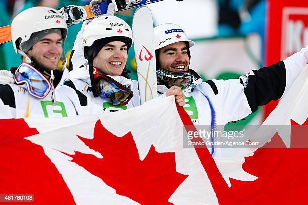 Philippe Marquis of Canada takes 2nd place Mikael Kingsbury of Canada takes 1st place MarcAntoine Gagnon of Canada takes 3rd place during the FIS...