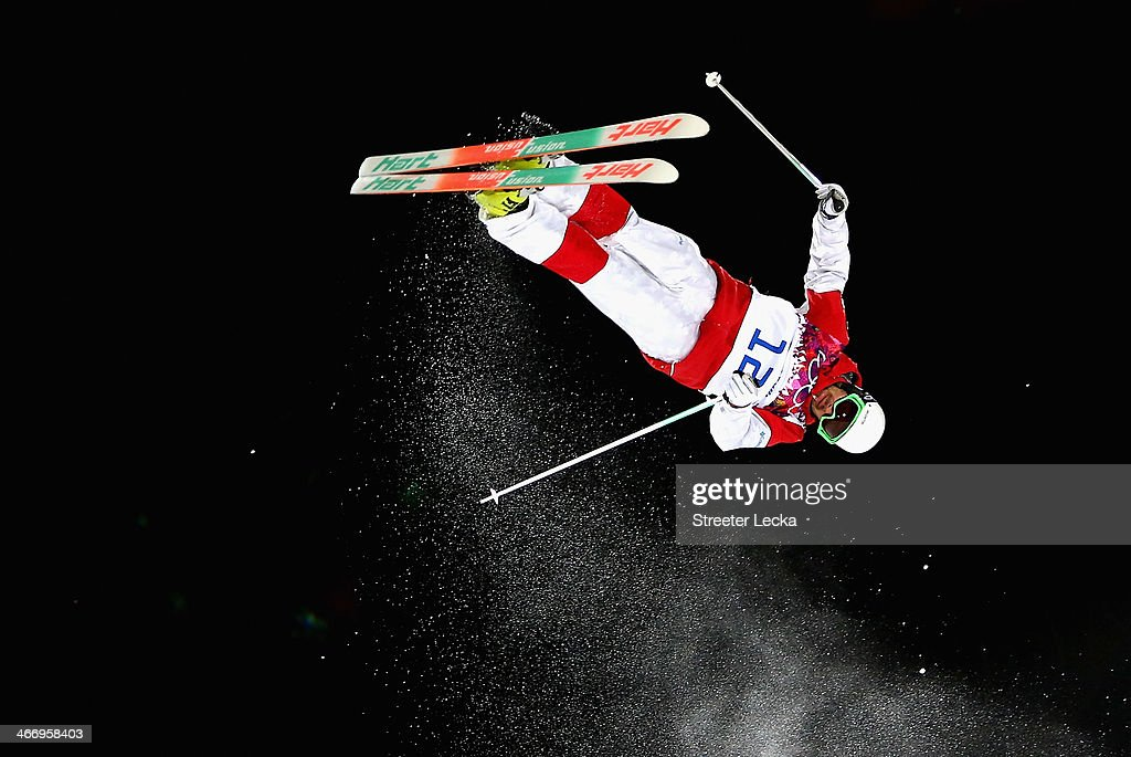 Philippe Marquis of Canada trains during moguls practice at the Extreme Park at Rosa Khutor Mountain ahead of the Sochi 2014 Winter Olympics on February 5, 2014 in Sochi, Russia.