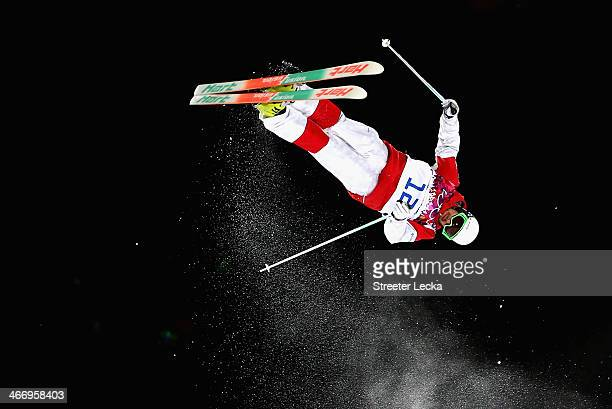 Philippe Marquis of Canada trains during moguls practice at the Extreme Park at Rosa Khutor Mountain ahead of the Sochi 2014 Winter Olympics on...