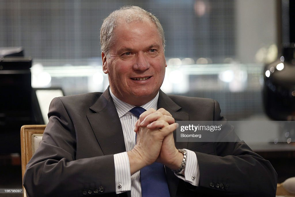 Philippe Mellier, chief executive officer of De Beers, pauses during a Bloomberg Television interview at the company's Bond Street jewelry store in London, U.K., on Tuesday, Nov. 20, 2012. De Beers, the biggest rough diamond producer by revenue, is moving the sorting and trading of rough stones to Botswana from London to secure access to the world's largest supplier of diamonds by value. Photographer: Simon Dawson/Bloomberg via Getty Images