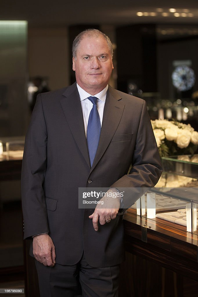 Philippe Mellier, chief executive officer of De Beers, poses for a photograph at the company's Bond Street jewelry store in London, U.K., on Tuesday, Nov. 20, 2012. De Beers, the biggest rough diamond producer by revenue, is moving the sorting and trading of rough stones to Botswana from London to secure access to the world's largest supplier of diamonds by value. Photographer: Simon Dawson/Bloomberg via Getty Images