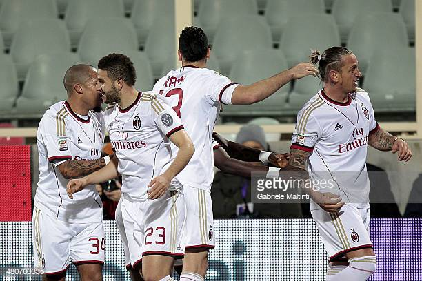 Philippe Mexes of AC Milan celebrates after scoring a goal during the Serie A match between ACF Fiorentina and AC Milan at Stadio Artemio Franchi on...