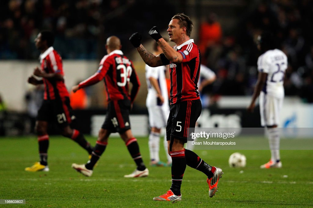 Philippe Mexes (#5) of AC Milan celebrates scoring a goal during the UEFA Champions League Group C match between RSC Anderlecht and AC Milan at the Constant Vanden Stock Stadium on November 21, 2012 in Anderlecht, Belgium.