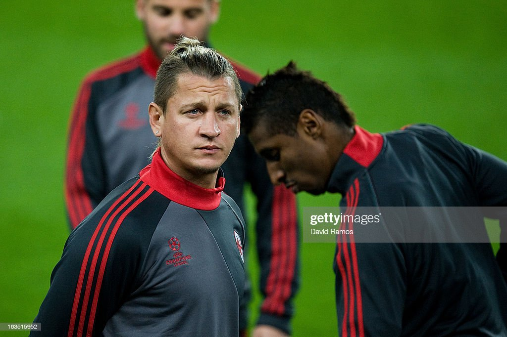 Philippe Mexes of AC Milan looks on during the training session ahead of their UEFA Champions League round of 16 second leg against FC Barcelona at the Camp Nou Stadium on March 11, 2013 in Barcelona, Spain.Ê