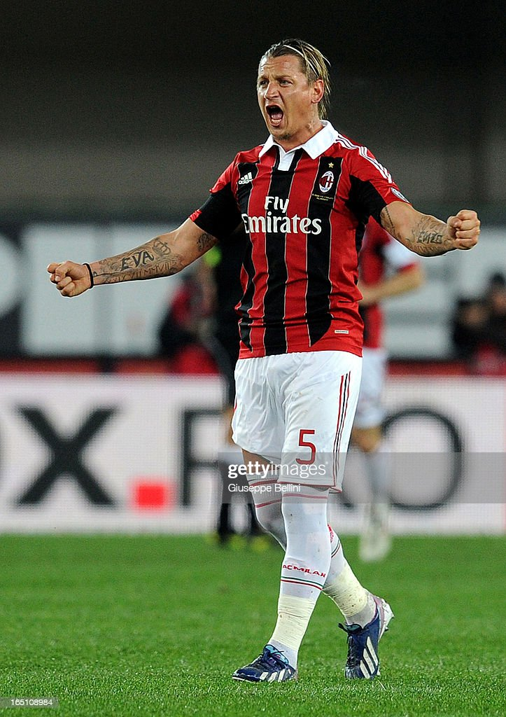 Philippe Mexes of Milan celebrates his team's opening goal during the Serie A match between AC Chievo Verona and AC Milan at Stadio Marc'Antonio Bentegodi on March 30, 2013 in Verona, Italy.