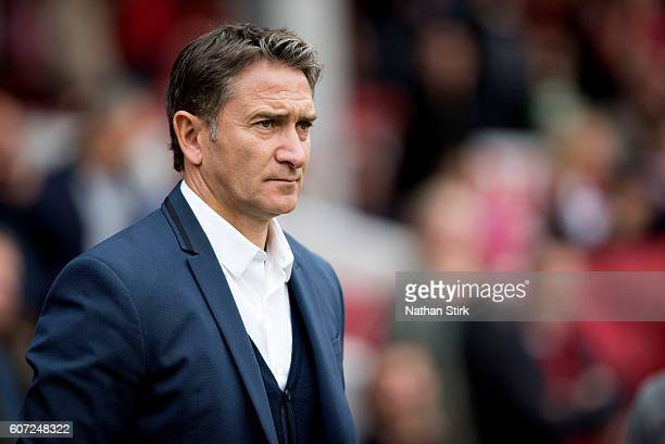 Philippe Montanier manager of Nottingham Forest looks on during the Sky Bet Championship match between Nottingham Forest and Norwich City at City...