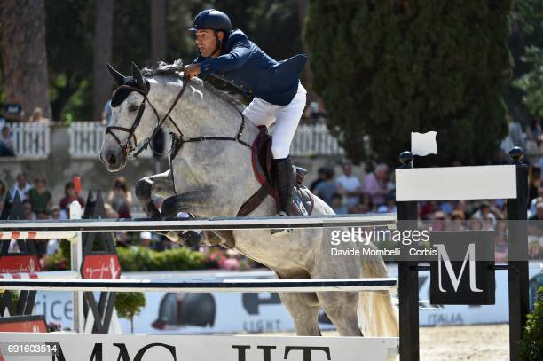 Philippe of France riding Rahotep de Toscane during the Piazza di Siena Bank Intesa Sanpaolo in the Villa Borghese on May 27 2017 in Rome Italy
