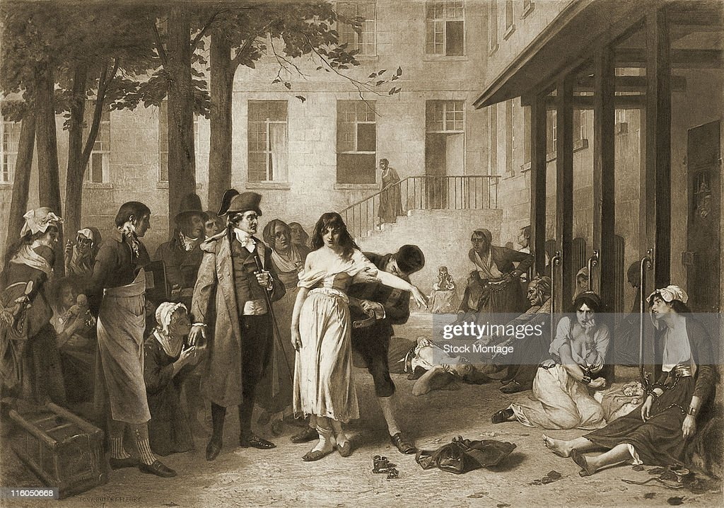 Philippe Pinel is depicted ordering restraints removed from patients at the Salpetriere an institution in Paris France for mentally ill women 1795...