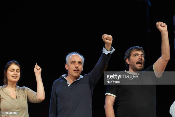 Philippe Poutou leader of the farleft party the NPA and supporters sing the 'Internationale' after he gave a speech in Toulouse He's one of the 11...