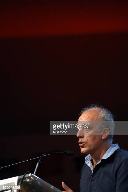 Philippe Poutou leader of the farleft party the NPA gives a speech in Toulouse He's one of the 11 candidates to the 1st round of the French...