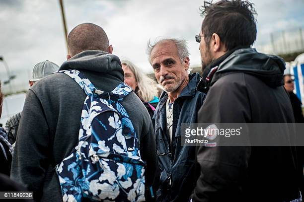 Philippe POUTOU political leader of the NPA present at the demonstration prorefugees in Calais France October 1st 2016 A prorefugee demonstration was...