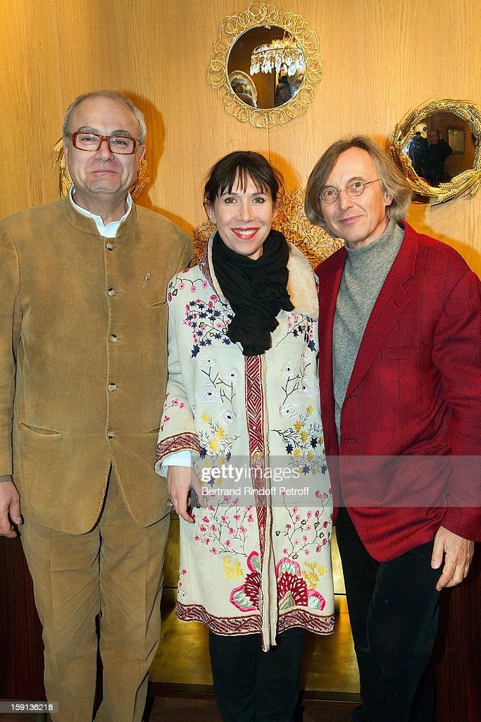Philippe Rapin, Sylvie de Chiree and gallery owner Pierre Passebon attend the 'Sorcieres' (Witches) exhibition preview at Galerie Pierre Passebon on January 8, 2013 in Paris, France.