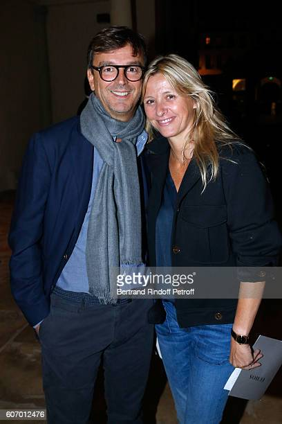 Philippe Rousselet and Sarah Lavoine attend the 4O Rue de Sevres Preview at the Head Offices of Both Kering and Balenciaga building The site was the...