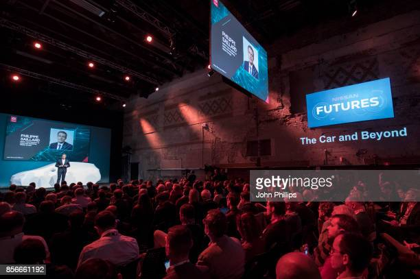 Philippe Saillard Senior Vice President of Nissan Europe unveils the new 100% electric Nissan LEAF at NissanÕsÊFutures 30Ê event at the DogANorwegian...