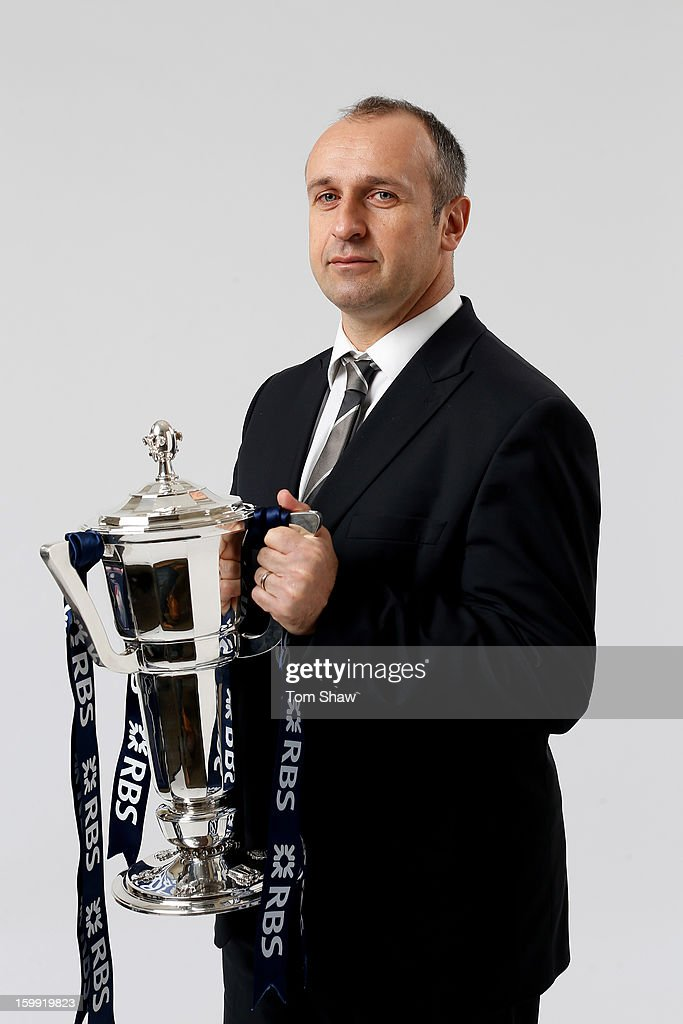 Philippe Saint Andre the France head coach poses with the Six Nations trophy during the RBS Six Nations launch at The Hurlingham Club on January 23, 2013 in London, England.