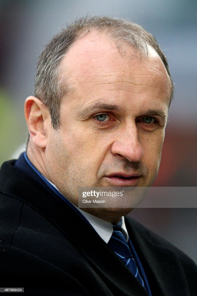 Philippe Saint Andre the head coach of France looks on during the RBS Six Nations match between England and France at Twickenham Stadium on March 21, 2015 in London, England.