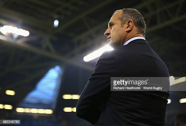 Philippe SaintAndre Head Coach of France looks on during the 2015 Rugby World Cup Pool D match between France and Ireland at Millennium Stadium on...