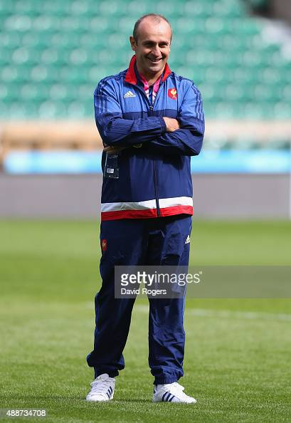 Philippe SaintAndre Head Coach of France looks on during the France Captain's Run at Twickenham Stadium on September 17 2015 in London England France...