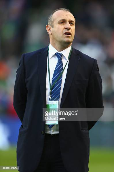 Philippe SaintAndre head coach of France looks on prior to the RBS Six Nations match between Ireland and France at the Aviva Stadium on February 14...