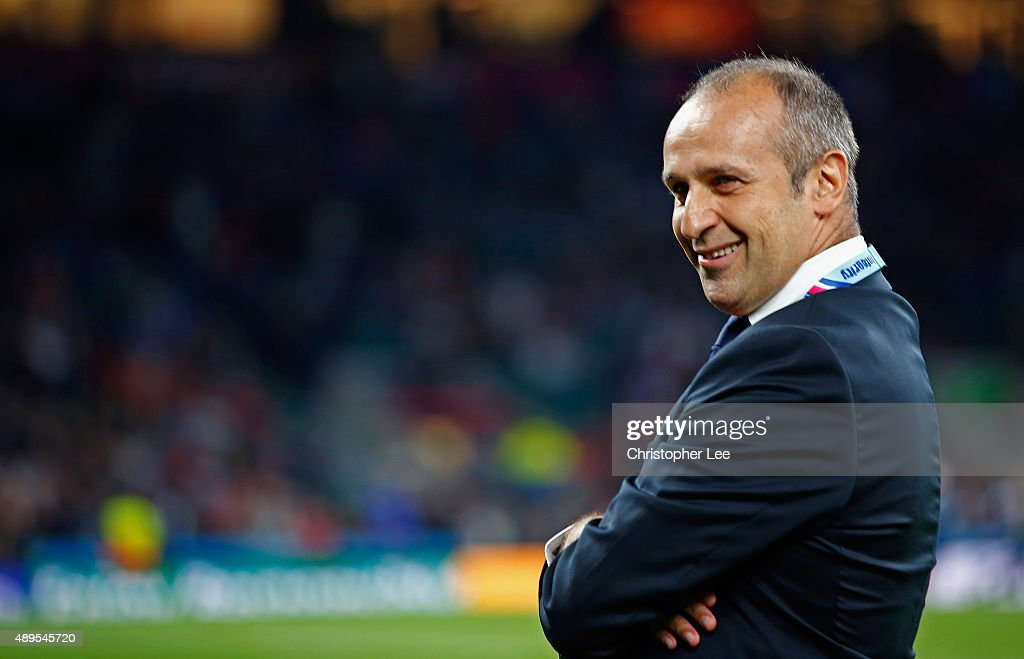 Philippe Saint-Andre of France during the 2015 Rugby World Cup Pool D match between France and Italy at Twickenham Stadium on September 19, 2015 in London, United Kingdom.