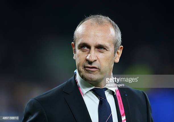 Philippe SaintAndre the France coach watches his players warm up before the 2015 Rugby World Cup Pool D match between France and Italy at Twickenham...