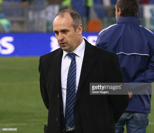 Philippe SaintAndre the France head coach looks dejected despite the French victory during the Six Nations match between Italy and France at the...