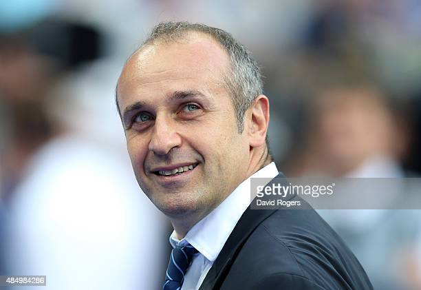 Philippe SaintAndre the France head coach looks on during the International match between France and England at Stade de France on August 22 2015 in...