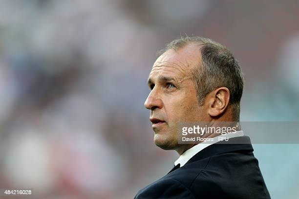 Philippe SaintAndre the head coach of France looks on during the QBE International match between England and France at Twickenham Stadium on August...
