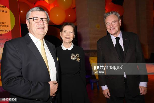 Philippe Savinel Daniele Ricard and painter Gerard Garouste attend the 'Bal Jaune Elastique 2017' Dinner Party at Palais Brongniart on October 20...