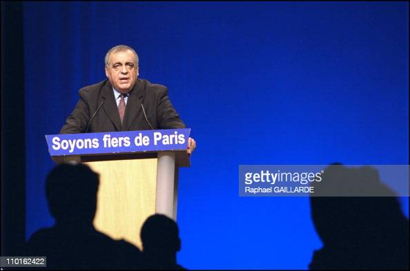 Philippe Seguin political rally at the 'Palais des sports' in Paris France on March 06 2001