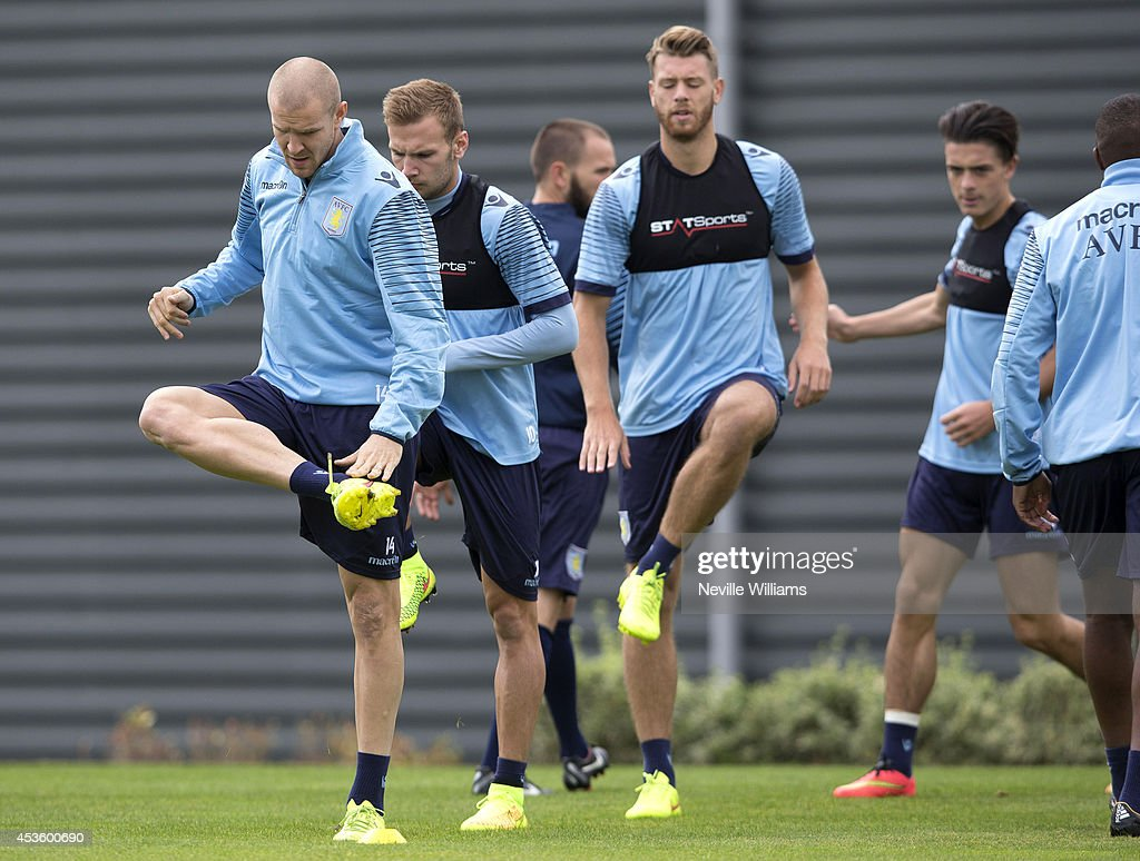 Philippe Senderos of Aston Villa in action during an Aston Villa training session at the club's training ground at Bodymoor Heath on August 14, 2014 in Birmingham, England.
