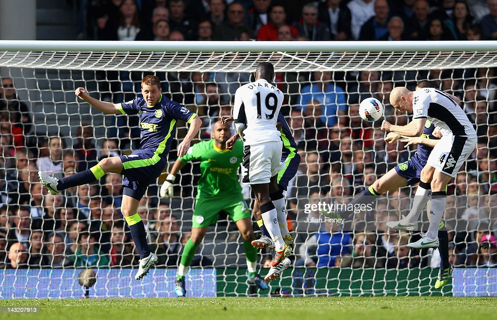 <a gi-track='captionPersonalityLinkClicked' href=/galleries/search?phrase=Philippe+Senderos&family=editorial&specificpeople=221471 ng-click='$event.stopPropagation()'>Philippe Senderos</a> of Fulham scores the winning goal during the Barclays Premier League match between Fulham and Wigan Athletic at Craven Cottage on April 21, 2012 in London, England.