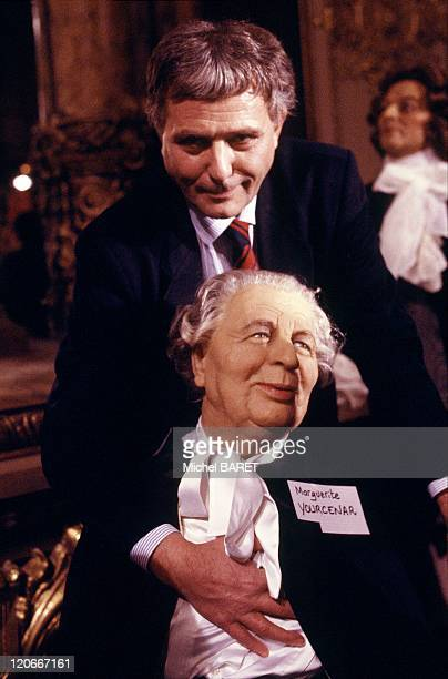 Philippe Sollers and Marguerite Yourcenar on January 05 1990 French writers