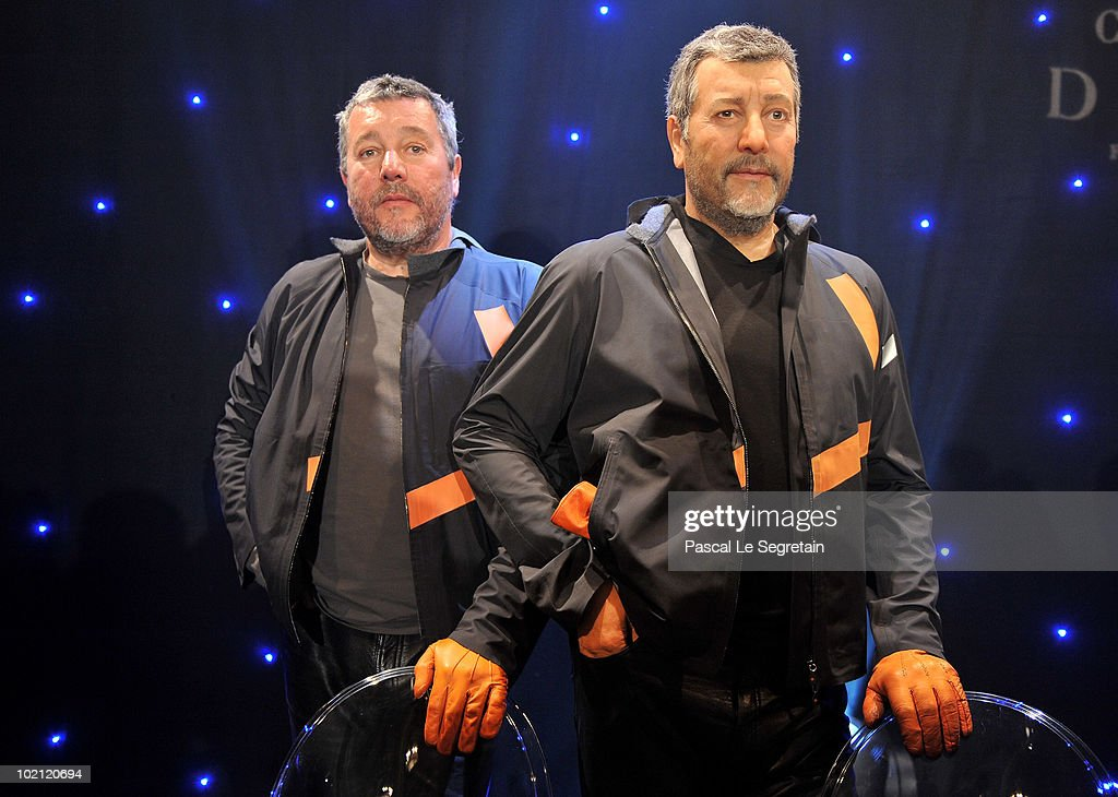 <a gi-track='captionPersonalityLinkClicked' href=/galleries/search?phrase=Philippe+Starck&family=editorial&specificpeople=3961802 ng-click='$event.stopPropagation()'>Philippe Starck</a> (L) poses next to his wax figure at Musee Grevin on June 15, 2010 in Paris, France.