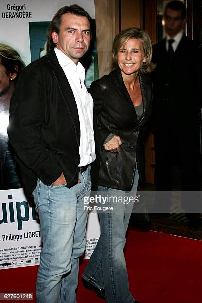 Philippe Torreton and Claire Chazal arrive at the premiere of 'L'equipier' in Paris