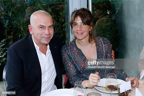 Philippe Torreton and his wife Elsa Boublil attend the 'France Television' Lunch during Day Nine of the 2016 French Tennis Open at Roland Garros on...