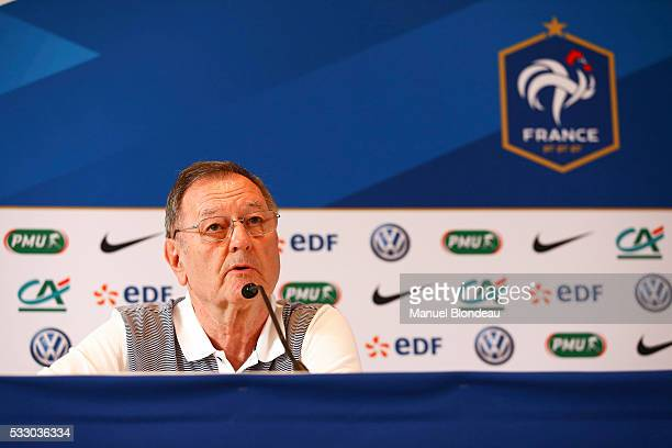Philippe Tournon press officer of France in press conference during the preparation of the French National football Team for Euro 2016 on May 20 2016...