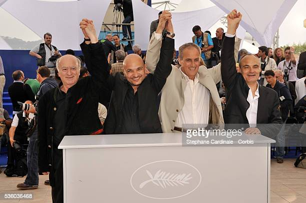 Philippe Val George Wolinski Daniel Leconte and Richard Malka at the photo call of 'C'est Dur d'Etre Aime Par Des Cons' during the 61st Cannes Film...