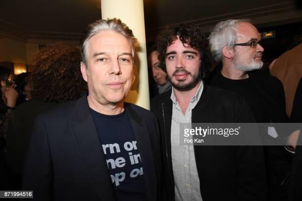 Philippe Vandel and Eric MetzgerÊattend the 'Prix De Flore 2017' Literary Prize Winner Announcement At Cafe De Flore on November 8 2017 in Paris...