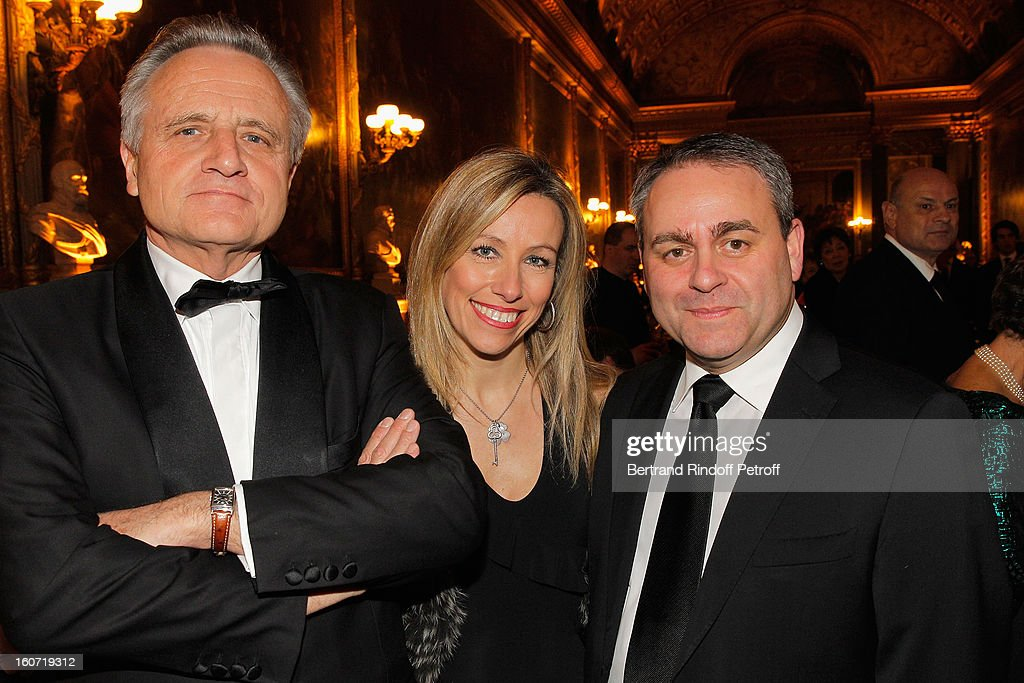 Philippe Villin, Emmanuelle Bertrand and husband <a gi-track='captionPersonalityLinkClicked' href=/galleries/search?phrase=Xavier+Bertrand&family=editorial&specificpeople=584441 ng-click='$event.stopPropagation()'>Xavier Bertrand</a> attend the gala dinner of Professor David Khayat's association 'AVEC', at Chateau de Versailles on February 4, 2013 in Versailles, France.