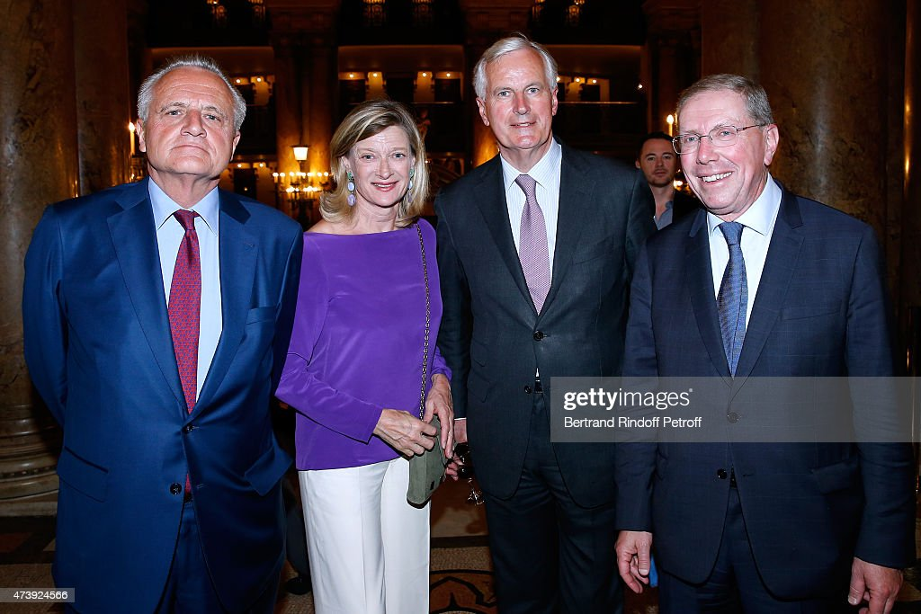 Philippe Villin, Politician <a gi-track='captionPersonalityLinkClicked' href=/galleries/search?phrase=Michel+Barnier&family=editorial&specificpeople=220639 ng-click='$event.stopPropagation()'>Michel Barnier</a> with his wife Isabelle and President of Opera de Paris Bernard Stirn attend Star Dancer Aurelie Dupont says goodbye to the Paris Opera performing in 'L'histoire de Manon' at Opera Garnier on May 18, 2015 in Paris, France.