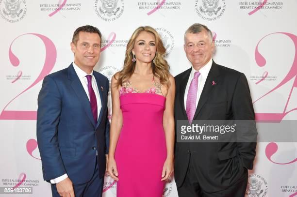 Philippe Warnery Senior President of Estee Lauder Companies UK and Ireland Elizabeth Hurley and William P Lauder Executive Chariman of The Estee...