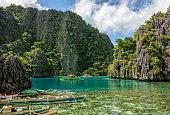 Philippine boats in the lagoon of Coron Island, Palawan, Philippines. Asia