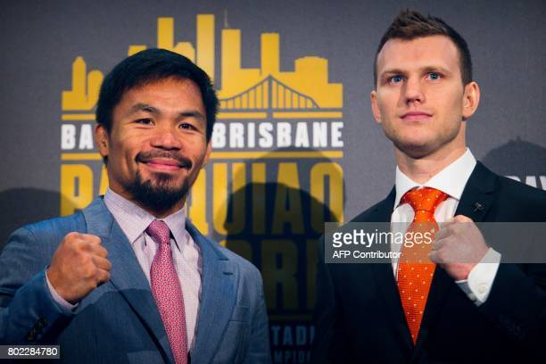 Philippine boxer Manny Pacquiao and Australian challenger Jeff Horn pose after a press conference to promote their upcoming WBO welterweight boxing...