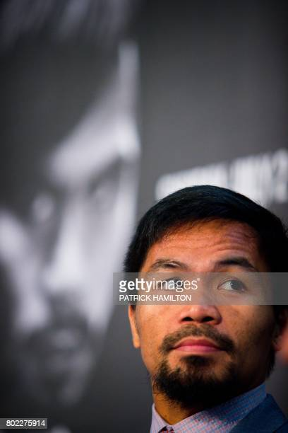 Philippine boxer Manny Pacquiao attends a press conference to promote his upcoming WBO welterweight boxing title fight against Australian challenger...