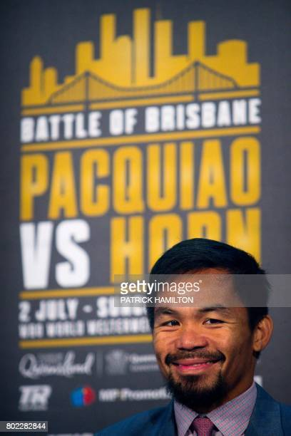 Philippine boxer Manny Pacquiao smiles during a press conference to promote his WBO Welterweight title fight against Australian challenger Jeff Horn...
